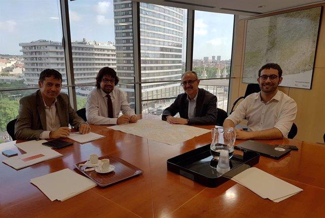 El secretario Ricard Font y los alcaldes Jordi Monràs y Marc Candela