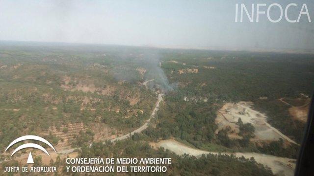 Imagen del incendio declarado en Niebla (Huelva).