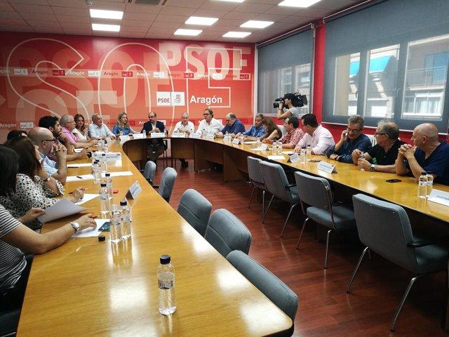 Reunión de la Ejecutiva del PSOE-Aragón, celebrada esta tarde en Zaragoza