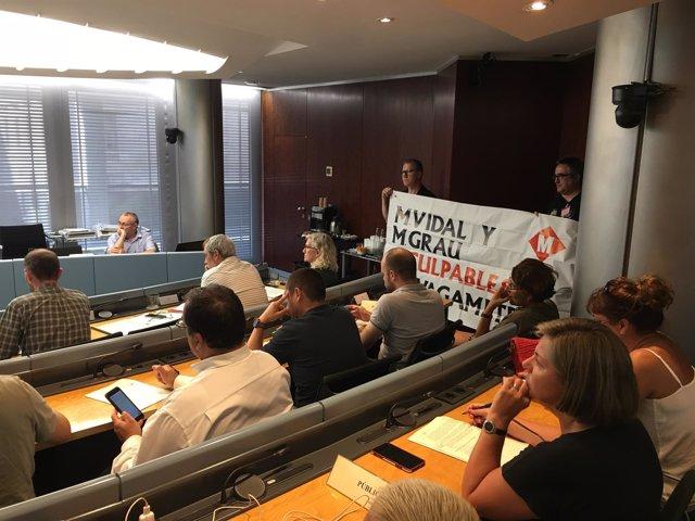 Trabajadores del Metro en la comisión de Urbanismo, Movilidad y Ecologia