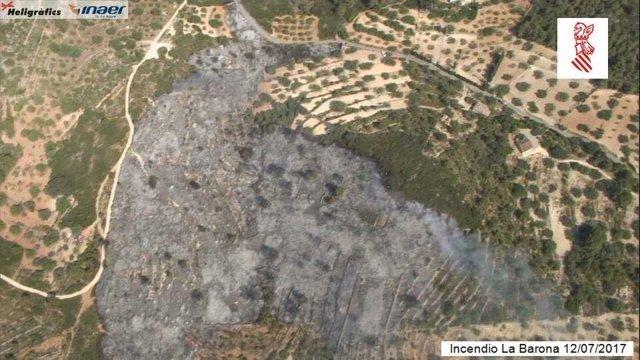 Imagen aérea del incendio de Vall d'Alba