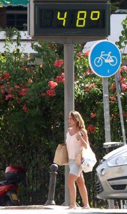 Termómetro en Sevilla durante la ola de calor