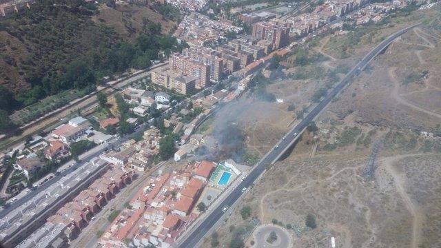 Declarado un incendio forestal en un paraje cercano a la Alhambra