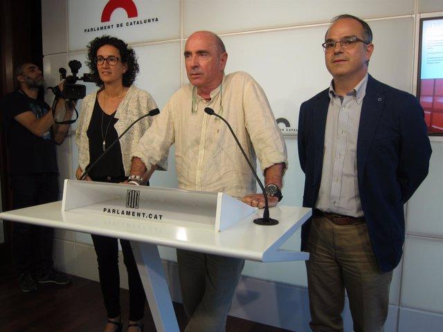 Los diputados de JxSí M.Rovira, Ll.Llach y J.Turull