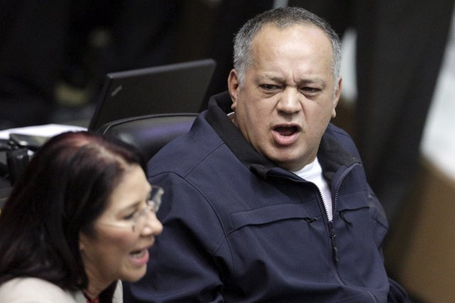 Diosdado Cabello (R), deputy of Venezuela's United Socialist Party (PSUV), talks