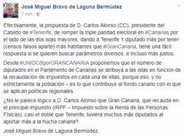 Post de Bravo de Laguna proponiendo diputados en función del IRPF