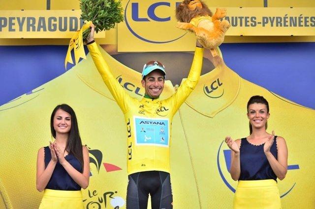 Fabio Aru en el Tour de Francia tras ponerse líder