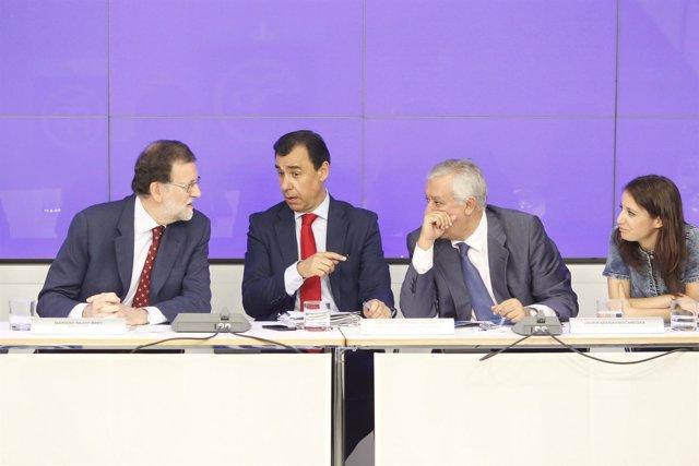 Rajoy, Fernando Martínez Maillo, Javier Arenas y Andrea Levy