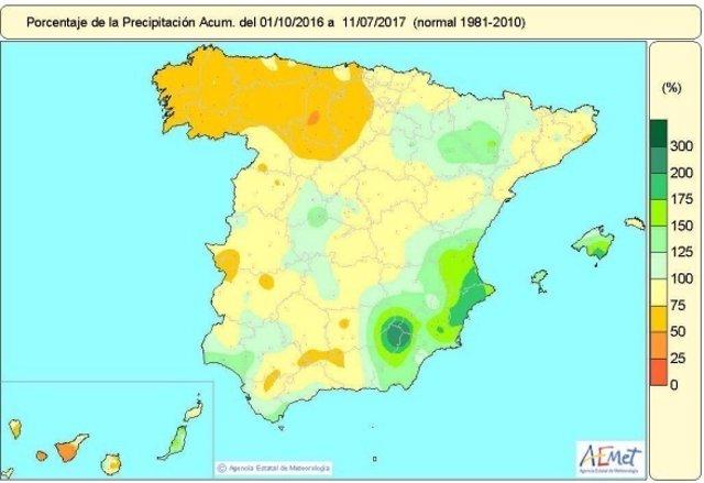 Distribución de las lluvias acumuladas desde 1-10-16 hasta el 14-7-17