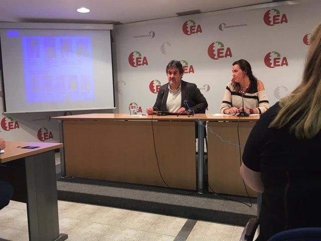Rueda de prensa del secretario general de EA, Pello Urizar