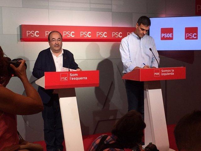 Rueda de prensa de Pedro Sánchez y Miquel Iceta