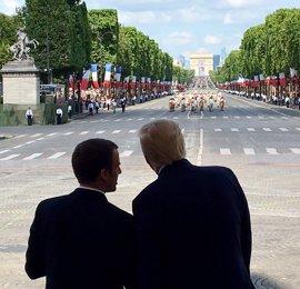 """Trump y Macron ratifican la """"amistad"""" de EEUU y Francia durante las celebraciones del 14 de julio"""