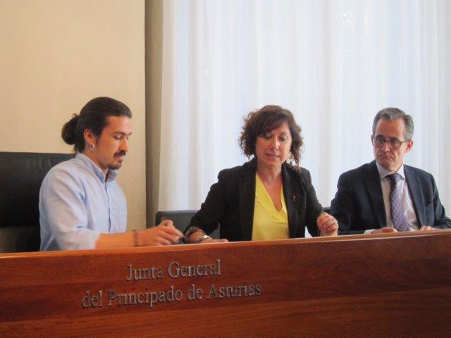 Los diputados Andrés Fernández Vilanova (Podemos) y Carmen Eva Pérez (PSOE)