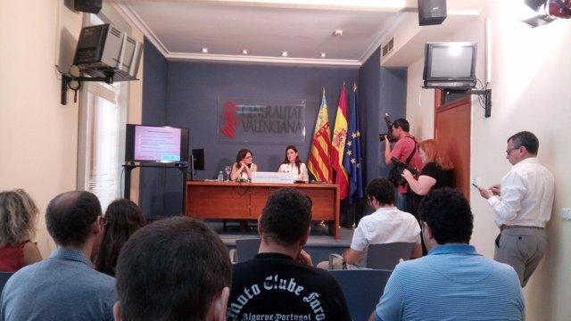 Mónica Oltra y Carmen Montón en Alicante en rueda de prensa después del Consell
