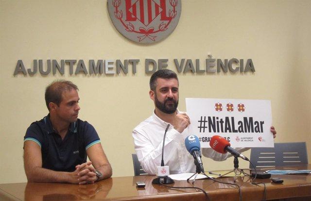 Pere Fuset y Ricardo Caballer en la presentación de la Nit a la Mar