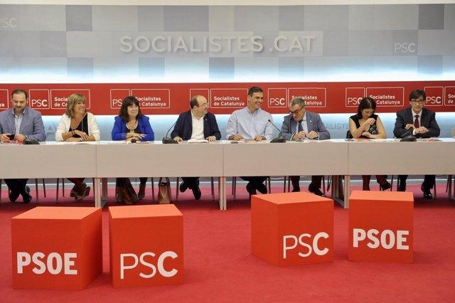 Reunión de las Ejecutivas de PSOE y PSC con Pedro Sánchez y Miquel Iceta
