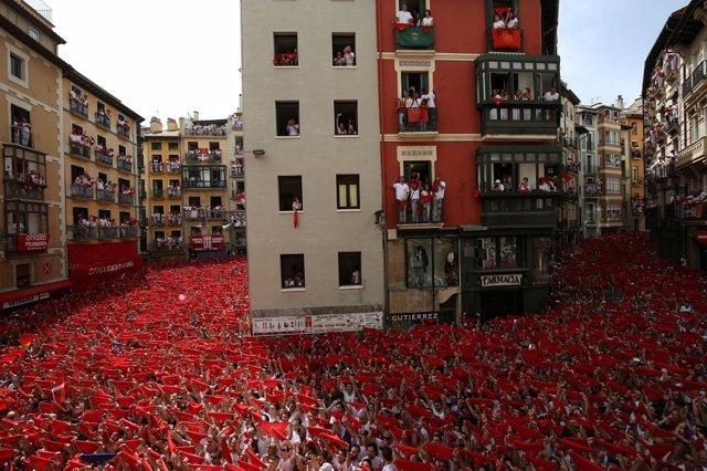 Celebración de los Sanfermines en el día del chupinazo