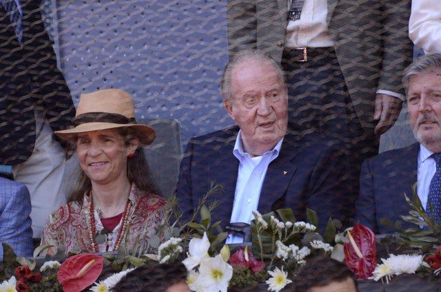 Juan Carlos I asistiendo a la Caja Mágica durante el Mutua Madrid Open 2016
