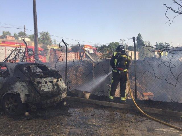 Incendio en la Colonia Guadarrama de Móstoles