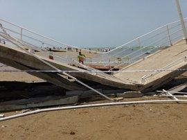 Cuatro heridos al ceder parte del pantalán de Bajo de Guía en Sanlúcar (Cádiz)