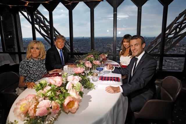 Brigitte Macron, Emmanuel Macron, Melania Trump y Donald Trump