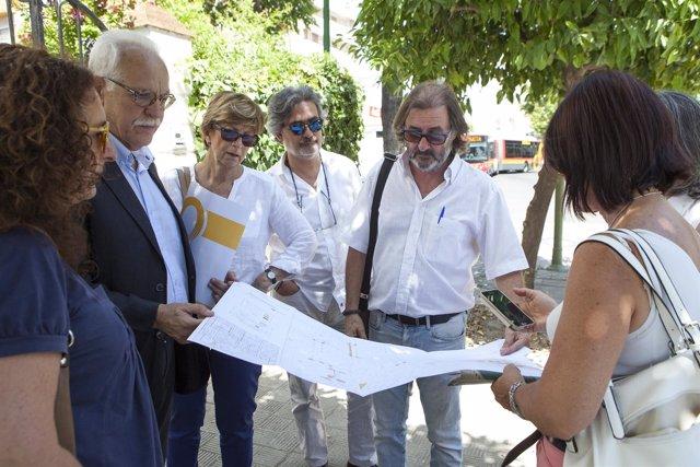 Sevilla. 11/07/2017. Información Sobre Obras De Mejora En Los Pasos Peatonales Y