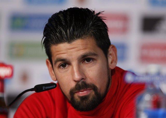 Nolito, con la selección española, en rueda de prensa