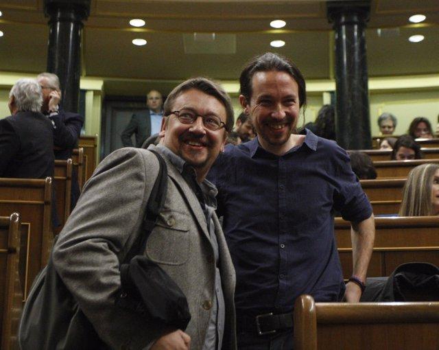 Pablo Iglesias y Xavier Domenech, líder de En Comú Podem