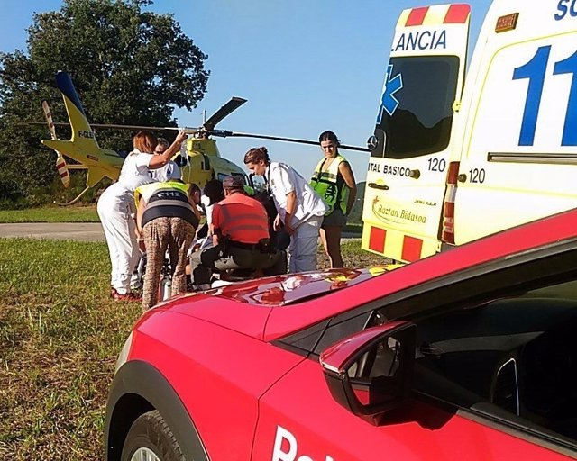 Accidente de motorista en Valcarlos (Navarra)