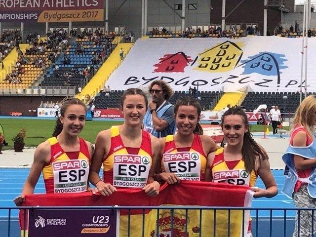 Equipo español de 4x100 femenino en el Europeo de Atletismo