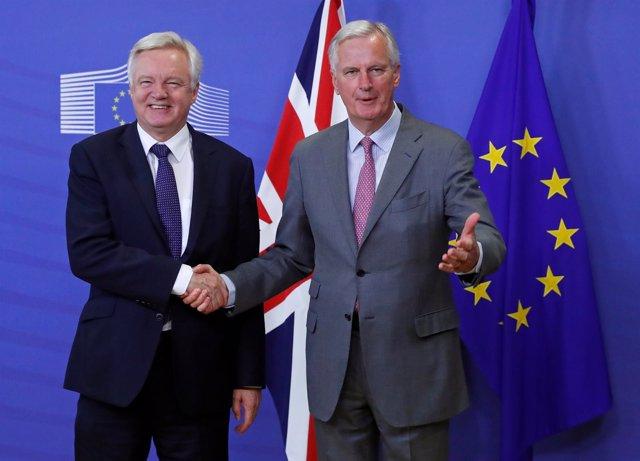 David Davis y Michel Barnier