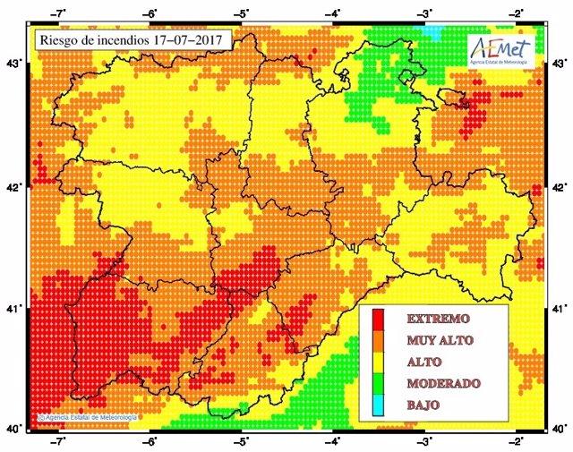 Mapa de riesgo de incendios en Castilla y León