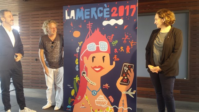 Cartell de la Mercè de 2017 amb J.Collboni, J. Mariscal i  Ada Colau