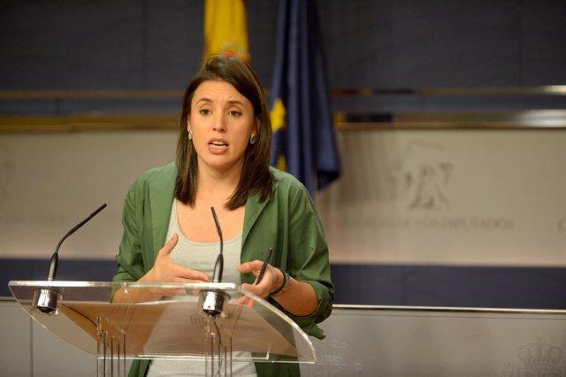 Irene Montero, portavoz de Podemos en el Congreso en rueda de prensa