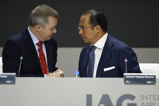 Willie Walsh y Antonio Vázquez, CEO y presidente de IAG, respctivamente