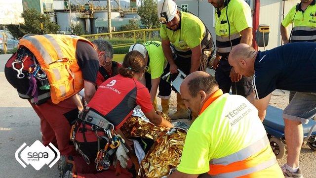 Accidente en una explotación minera en Belmonte de Miranda