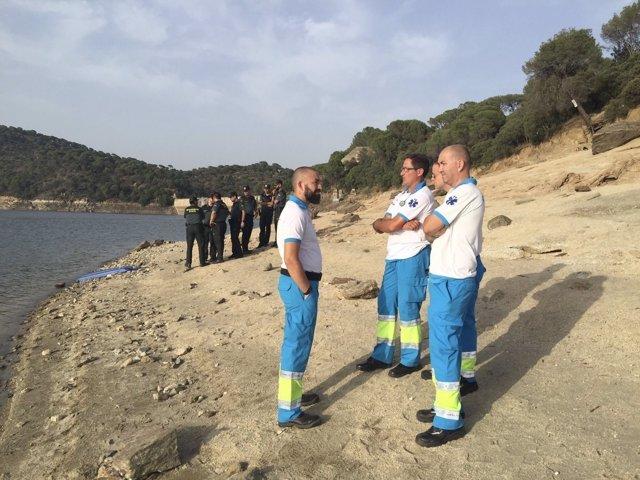 Imagen de efectivos del SUMMA en el pantano de San Juan