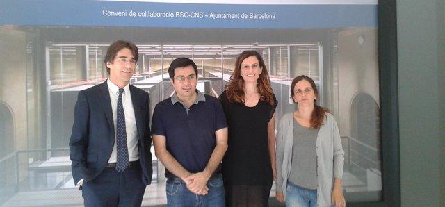 Firma del convenio entre Ayuntamiento y BSC, con G.Pisarello y J.M.Martorell