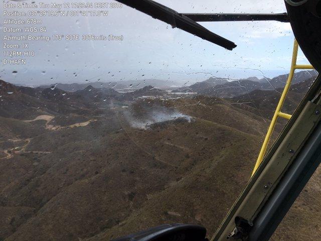 Arden 2.700 m2 de matorral en un conato de incendio forestal en Almenara