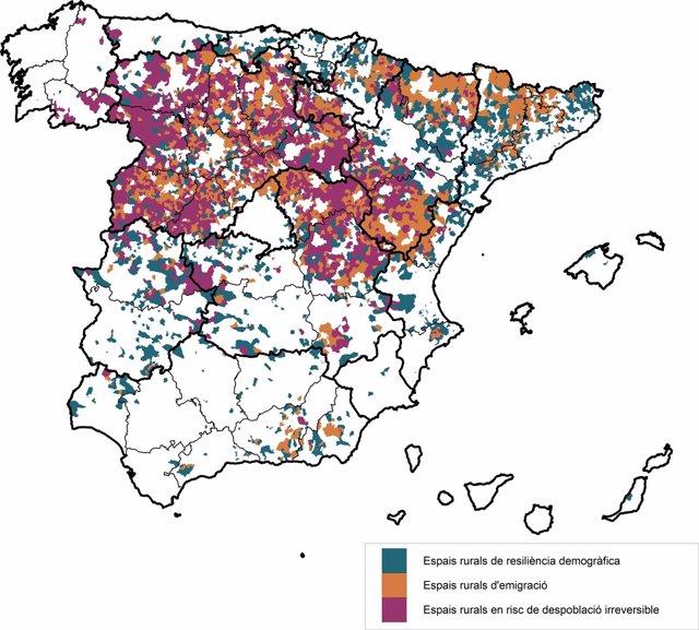 Localización espacial de las tipologías de municipios rurales en España 2016
