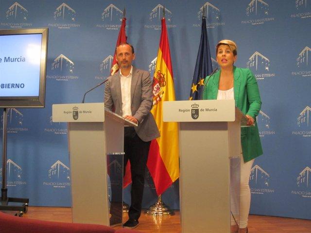 Noelia Arroyo y Javier Celdrán en rueda de prensa