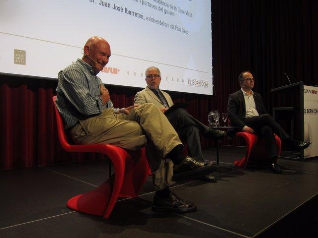 El exlehendkari J.J.Ibarretxe, el periodista X.Xirgo y el ptavoz J.Turull