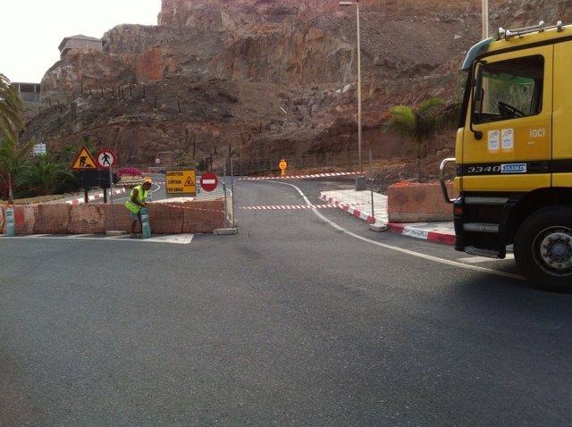 Reparación de la carretera entre Taurito y Mogán