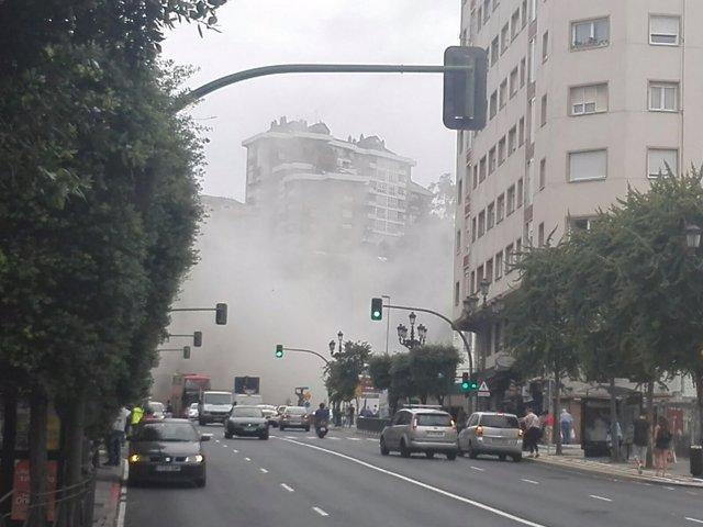 Nube de polvo por el derrumbe