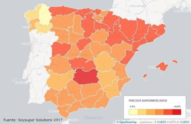 Barómetro anual de precios regionales de supermercados