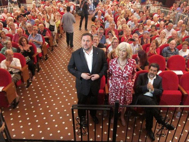 El Vpte.O.Junqueras, La Exconsellera I.Rigau Y J.Sánchez (ANC)