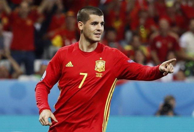 Álvaro Morata con la selección española