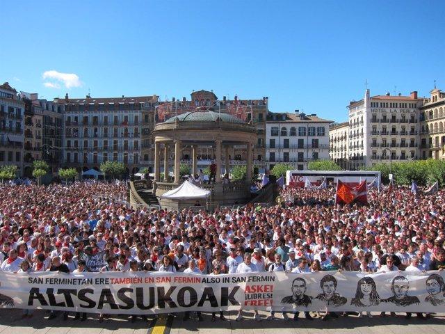 Manifestación en Pamplona en apoyo a los detenidos de Alsasua