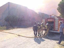 Sigue activo el incendio de la empresa de forrajes de Tauste (Zaragoza)