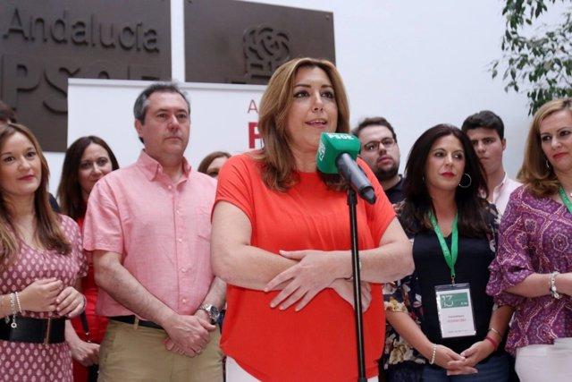 Susana Díaz comparece en la sede del PSOE-A